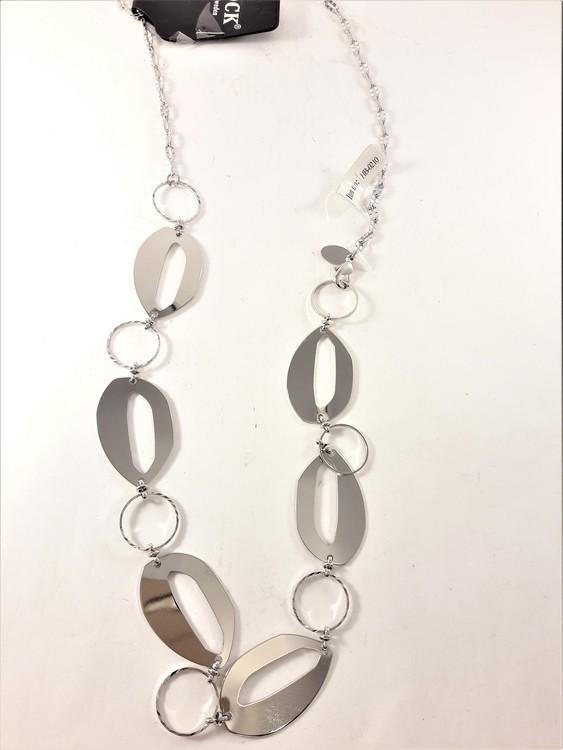 Halsband med stora länkar i silverfärg
