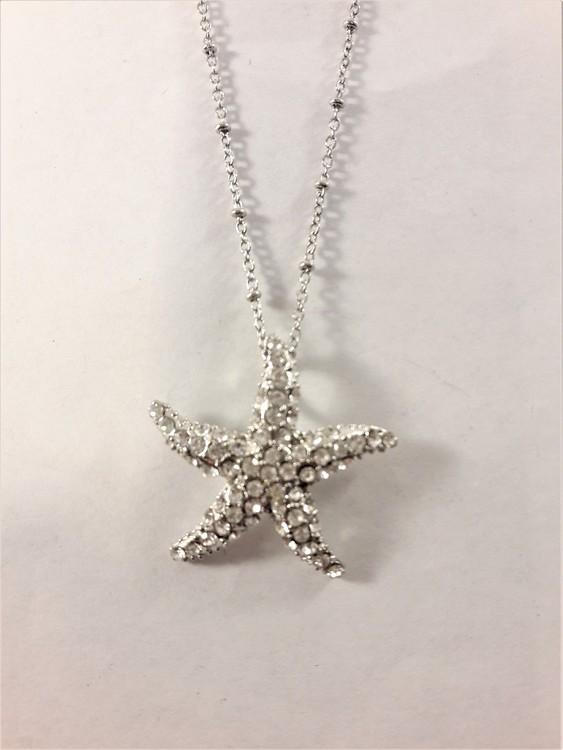 Halskedja med sjöstjärna som hänge med glittrande vit strass
