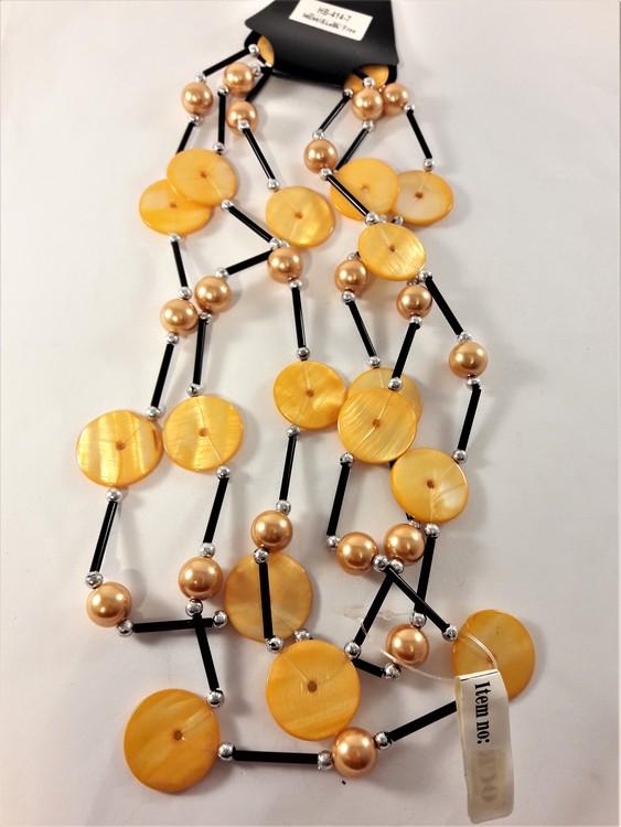 Långt Halsband med Detaljer Orange och Svart
