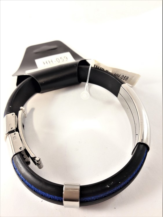 Metall Läder Armband med Blå Rand