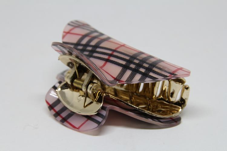 Hårklämma, beige, rutigt mönster med guldfärgade detaljer