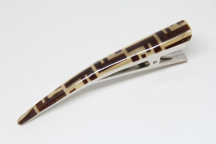 Hårklämma spetsig krokodilklämma, brun