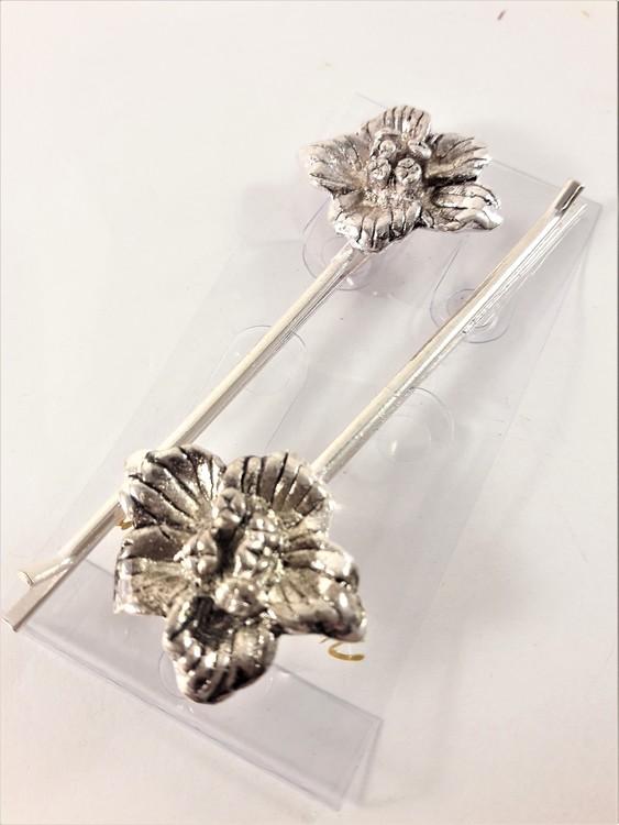 Silverfärgade hårnålar med blomma, 2-pack