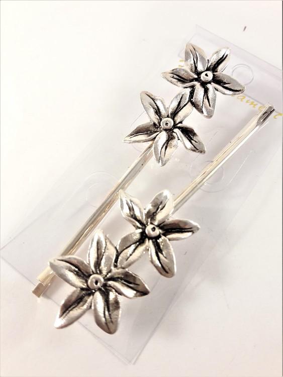 Silverfärgade hårnålar med 2 blommor, 2-pack