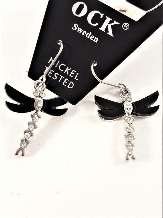 Örhängen med trollslända, svarta vingar och strass