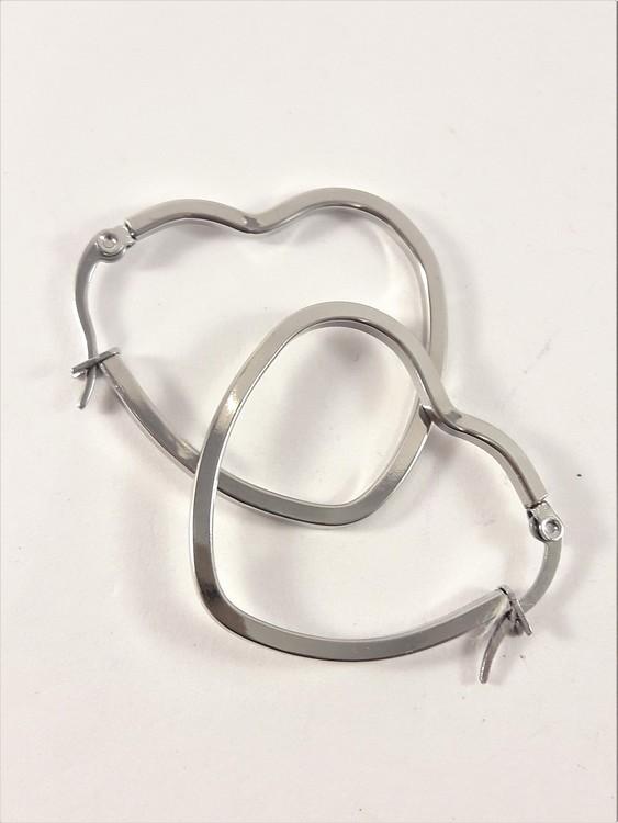 Örhänge i stål, hjärta medium, ca 4 cm