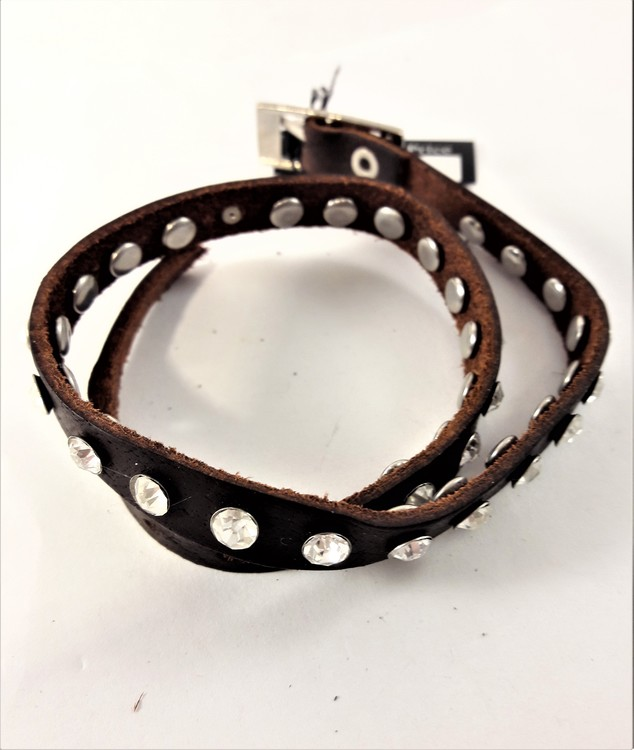 Läder Armband med Strass Brun