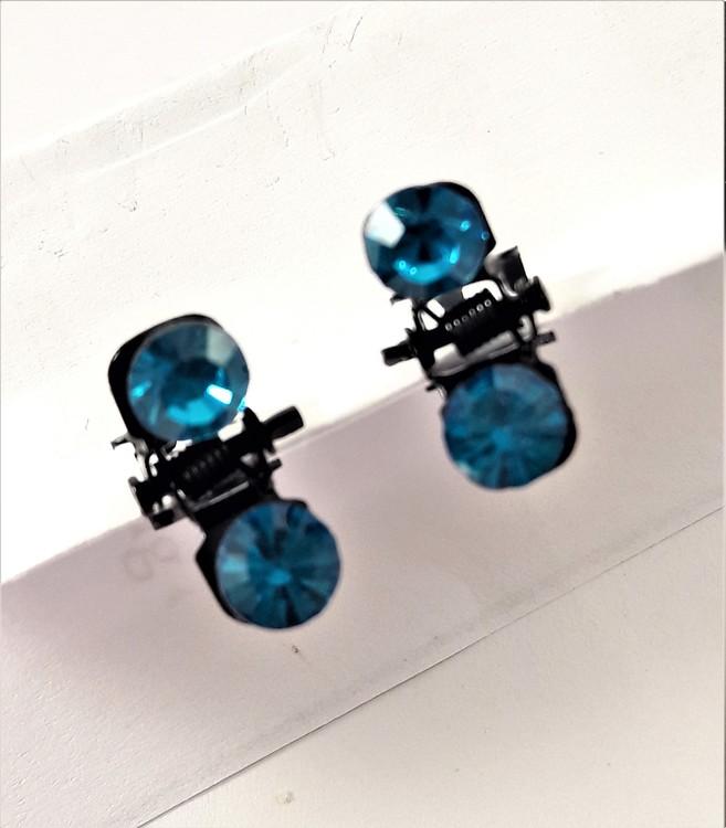 Små hårklämmor med glittrande blå sten, 2 st