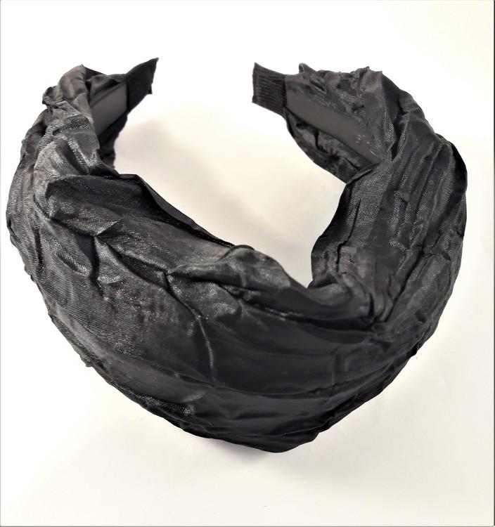Brett diadem i svart tyg