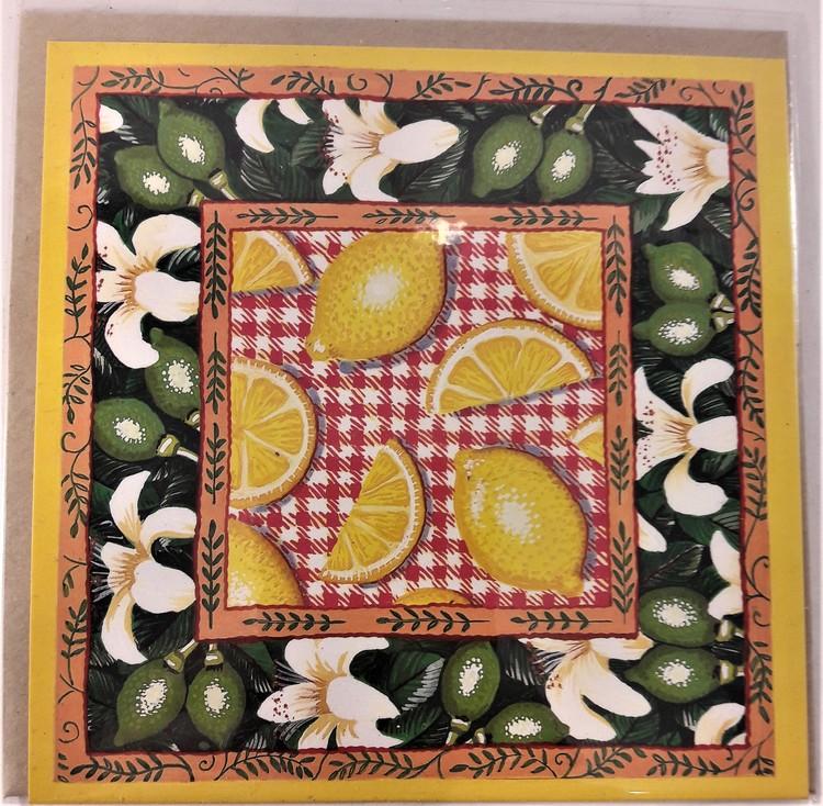Fyrkantigt grattiskort med citroner, utan text
