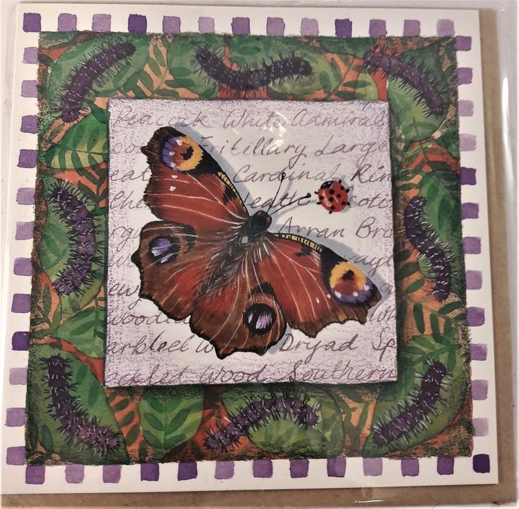 Fyrkantigt grattiskort med fjäril, utan text