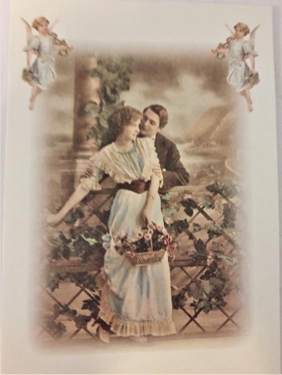 Kort/vykort med gammaldags motiv med par