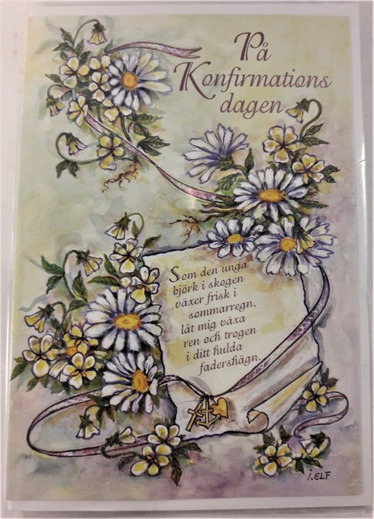 """Grattiskort """"På Konfirmationsdagen"""", motiv med prästkragar"""