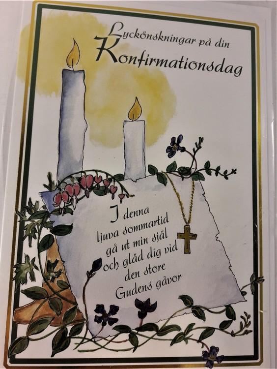 """Grattiskort """"Lyckönskningar på din Konfirmationsdag"""", motiv med löjtnantshjärta"""