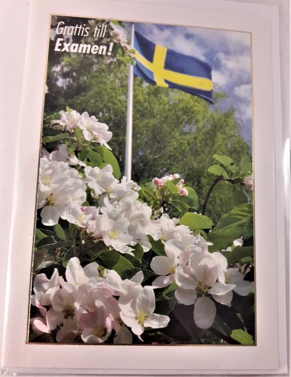 """Grattiskort """"Grattis till Examen"""" med vita blommor"""