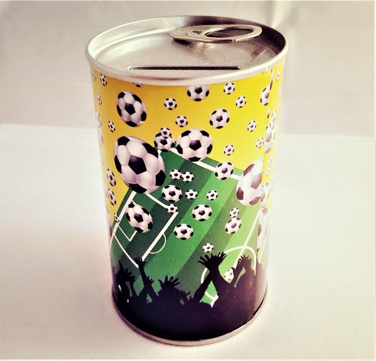 Sparbössa med fotbollsmotiv