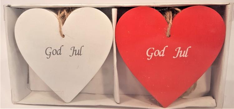 Julhjärtan med snöre, 6 röda och 6 vita
