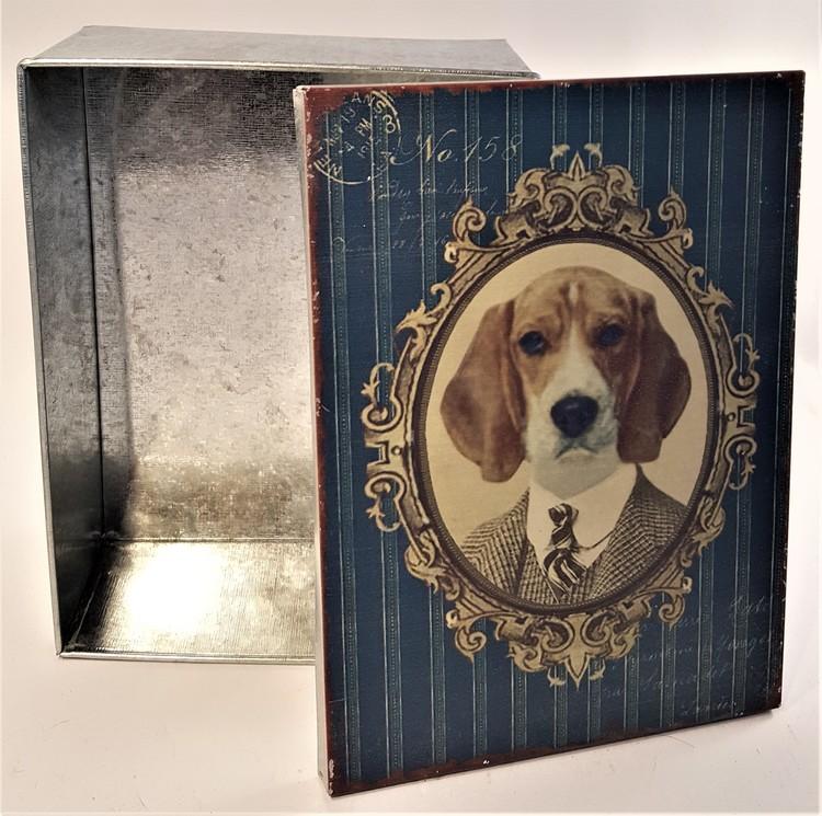 Plåtburk med hundmotiv