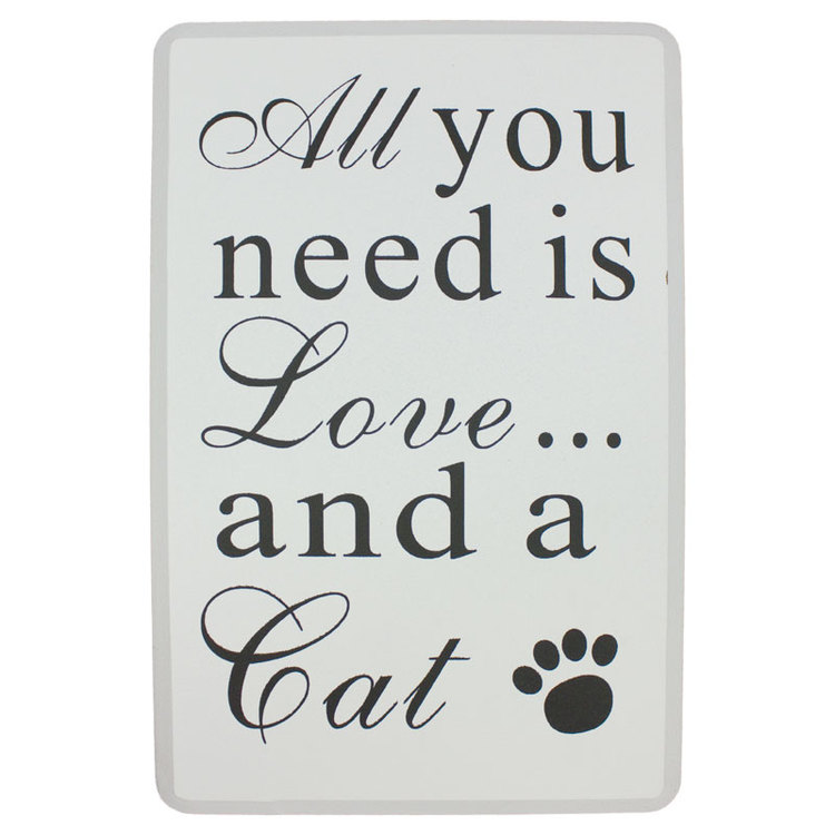 Träskylt med text, All you need is love...and a Cat