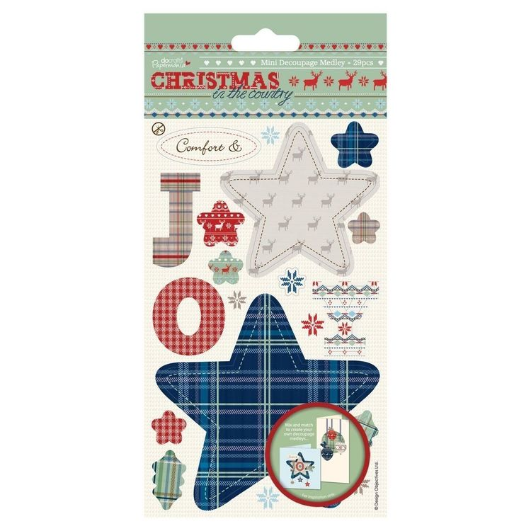 Docrafts Papermania Mini Decoupage Medley Christmas in the Country JOY - 29 pcs