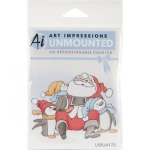 Art Impressions Christmas 2012 Cling Rubber Stamp-santa & Penguins