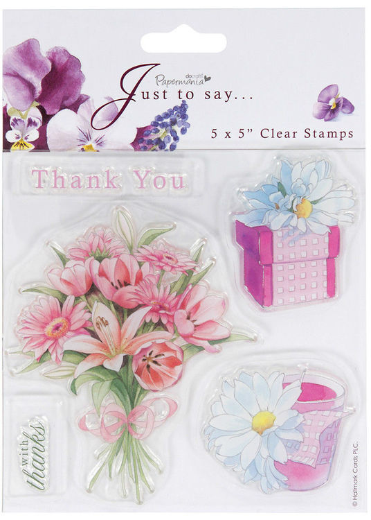 "Papermania 5x5"" sheet with 5 clear stamps bouquet of Flowers Thank You gift box"