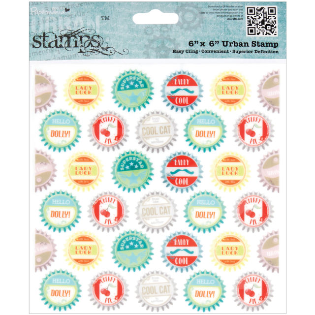 "Papermania Happy Days Cling Urban Stamps 6""X6"" Bottle Caps"