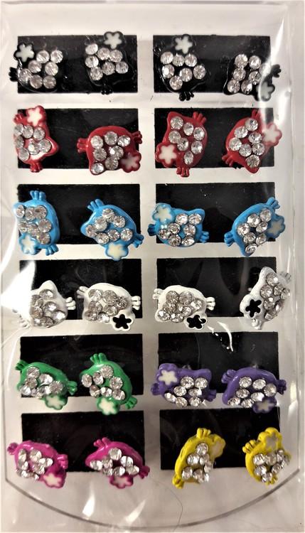 Karta med 12 par örhängen med Hello Kitty-motiv, fylld, med gnistrande strass