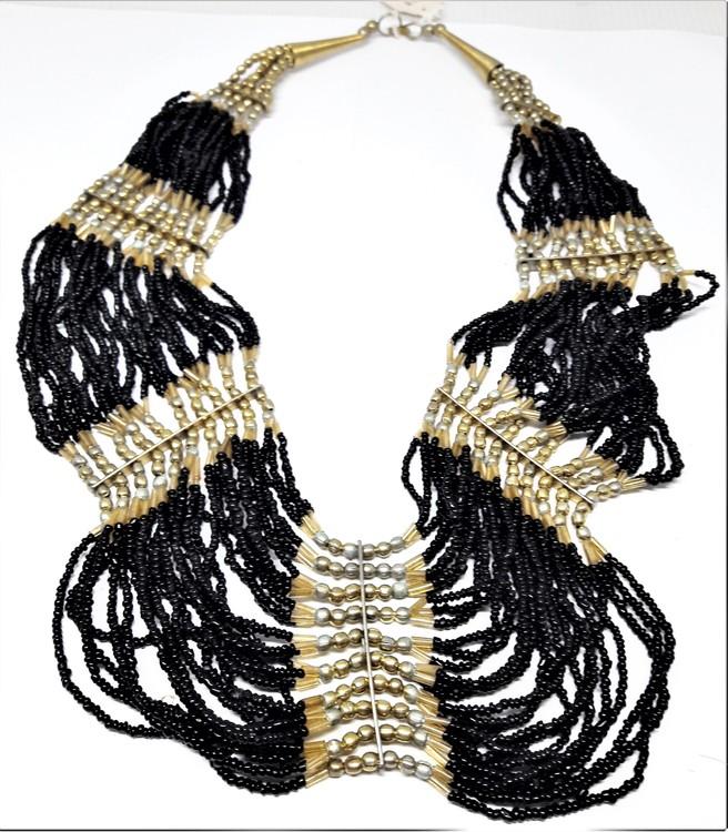 Flerradigt tvåfärgat halsband svart/guld