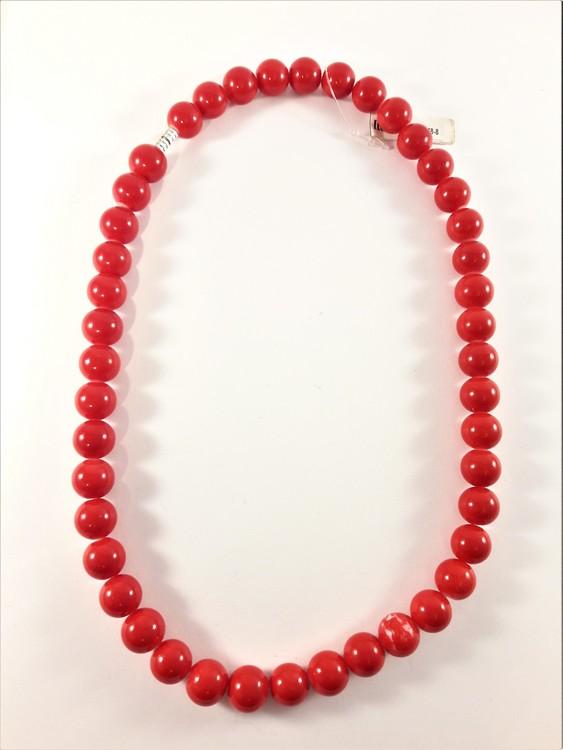 Halsband med kulor i rött