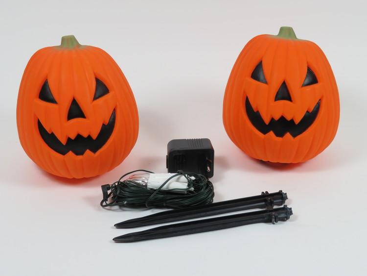 Partylampor i form av pumpa, 2 pack inkl adapter och markspjut, Markslöjd