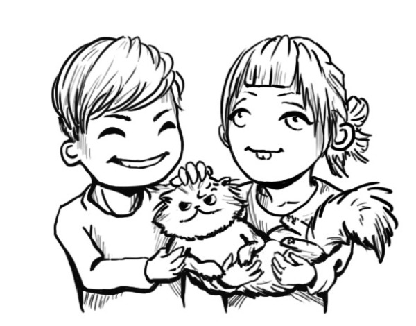 Edison, Knubbe och Anna bakom Ediya Shop. Vi älskar animefigurer!