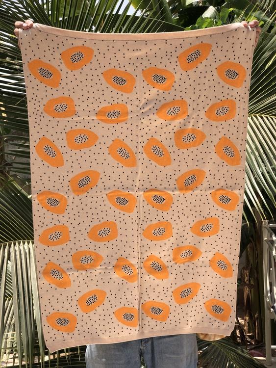 Knitted Papaya baby blanket