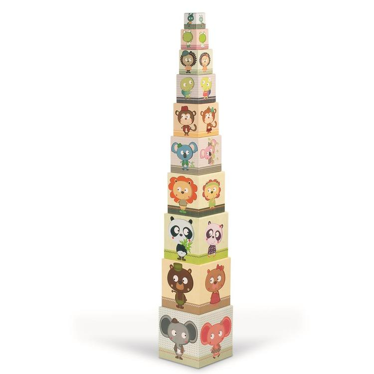 "Janod Square Stacking Pyramid - ""Family Portraits"""
