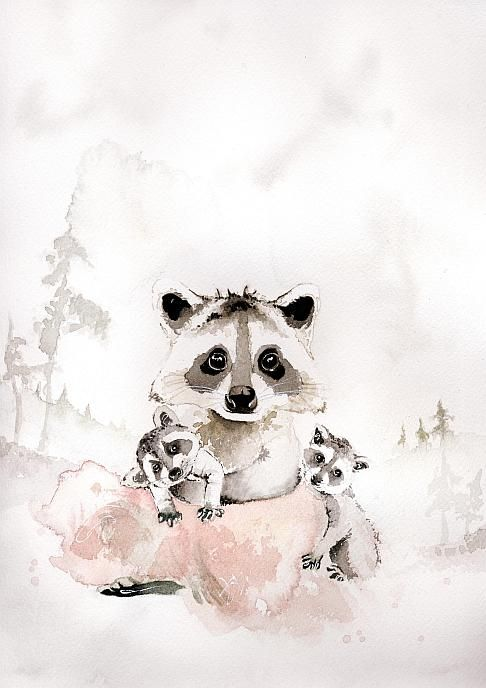 Akvarelltryck av Sara Hallberg - Busungar A4