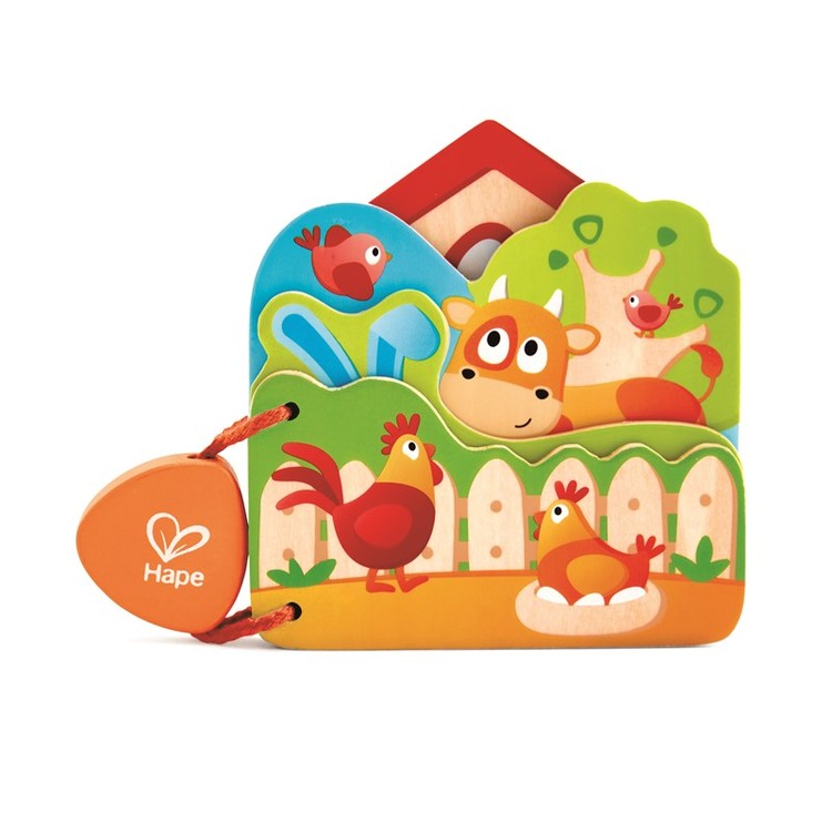 Hape Baby's Farm Animal Book - Träbok