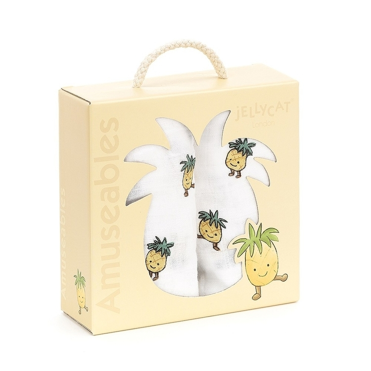 Jellycat Amuseable Pineapple Pair Of Muslins