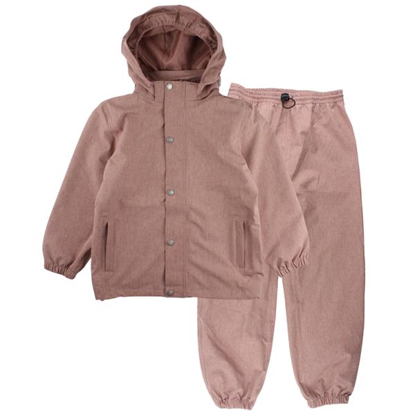 EN FANT regnkläder med avtagbar huva. rosa/ old rose