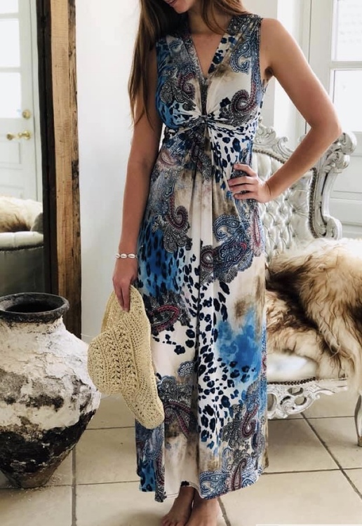 Lång klänning blå