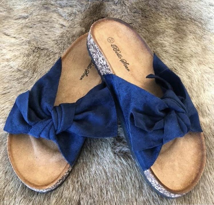 Sandal med roset Marinblå