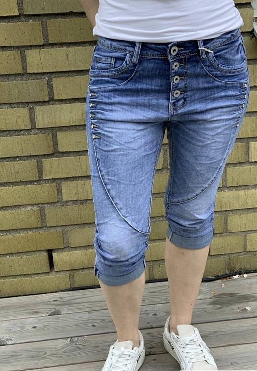 capri jeans ljusblå med bling