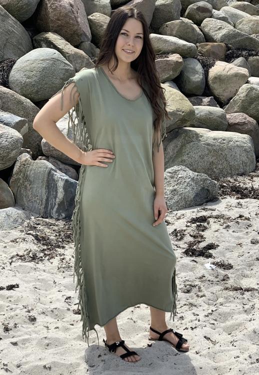 klänning med fransar Army