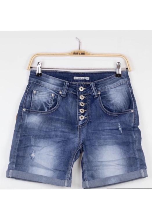 Place du jour shorts mörkblå med slitning