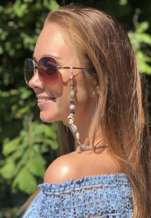 Glasögon kedja- senilsnöre- snäckor blå