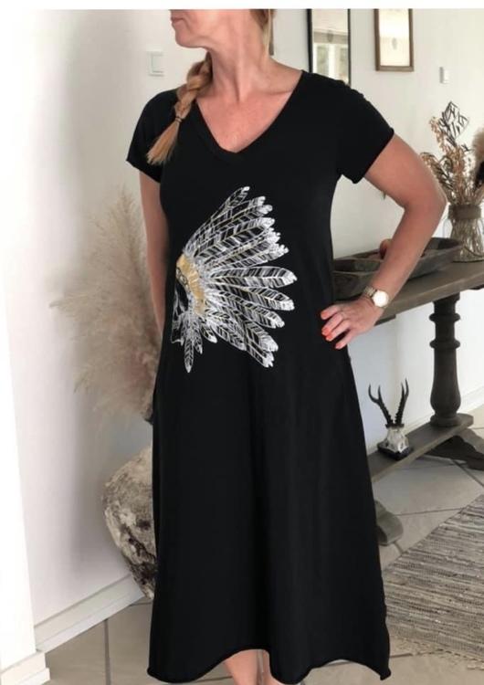 T-shirt klänning indian svart