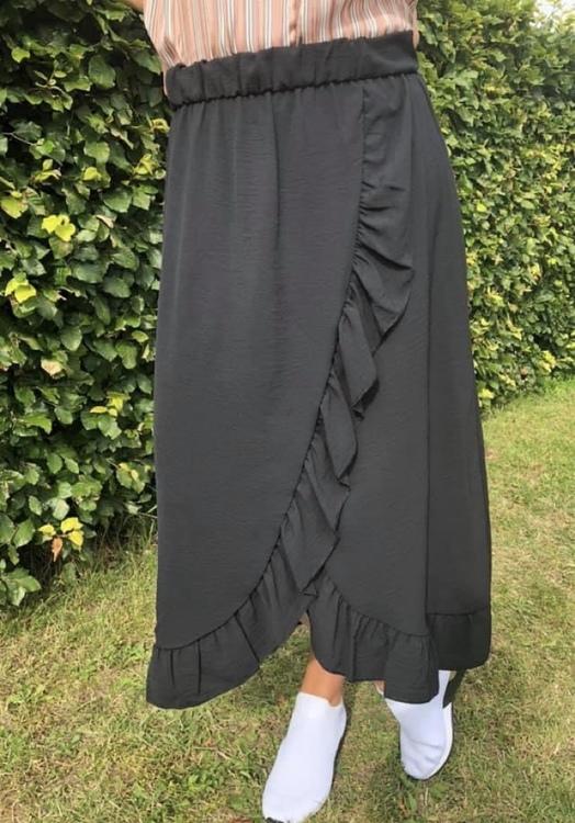 Kjol med volang svart