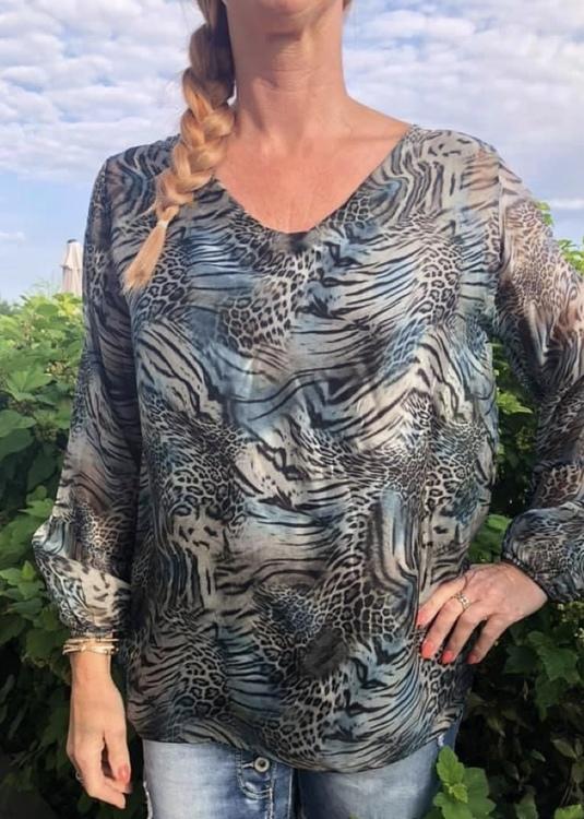 Silkes tunika blå leo mönstrad