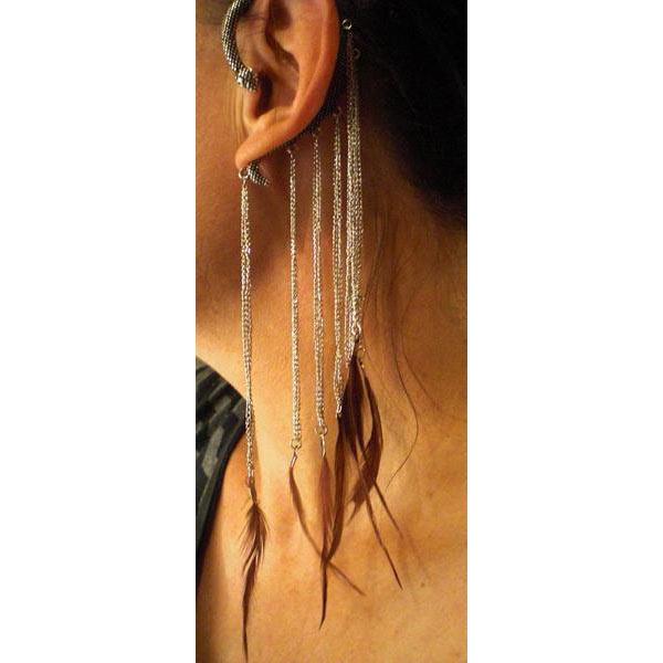 Örhänge Ear wrap orm med fjädrar