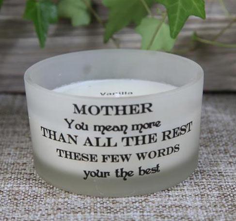 """Doftljus i glas med budskap """"MOTHER"""" Vanilj"""