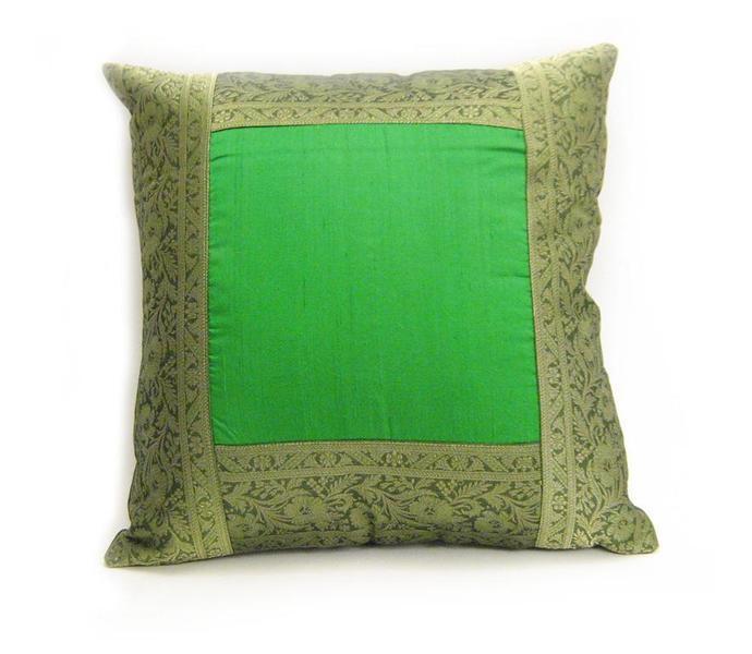 Kuddfodral, Silk/Brocade, Grön, 40x40cm